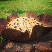 Copper bird seed feeder