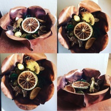 Pot pourri-filled copper bowl