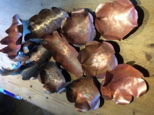 Copper leaves for Christmas Fair